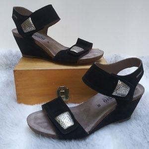 Mephisto Jackie black suede wedge sandals 38